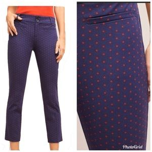 Anthropologie Essential Slim Blue Red Dot Size 8